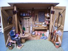 A Potting Shed made from odds and ends with some Dolls house miniatures, to give it that finishing touch.