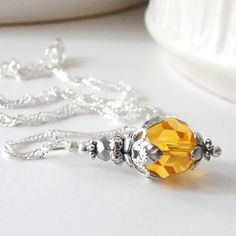 Yellow Bridesmaids Necklaces Crystal Pendant Swarovski Elements Yellow and Silver Wedding Jewelry Beaded Jewelry Bridesmaid Gift Handmade Silver Wedding Jewelry, Bridesmaid Jewelry, Bridesmaid Gifts, Marigold Wedding, Yellow Bridesmaids, Thing 1, Flower Fashion, Crystal Pendant, Beaded Jewelry