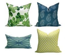 Spark Modern Curated Collection #4 - Fig Leaf Faded on Hemp, Kashmir Paisley Tea, Katana Jade, and Betwixt Chartreuse - 6 pillow covers by sparkmodern on Etsy https://www.etsy.com/listing/228413352/spark-modern-curated-collection-4-fig
