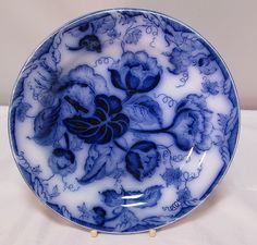A beautiful example of cobalt blue ......Impressed marks indicate dates of April 1869 [ our opinion ] ........Pattern appears to be Water
