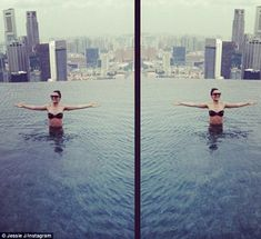 Living the dream: Jessie J left the wintry UK weather behind and jetted off for a sunshine holiday in Singapore this weekend Sunshine Holidays, Holiday In Singapore, Uk Weather, Jessie J, Vertigo, Skyscraper, Infinity, Tower, British