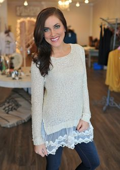 Dottie Couture Boutique - Taupe Lace Trim Sweater, $42.00 (http://www.dottiecouture.com/taupe-lace-trim-sweater/)