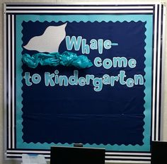 Nautical Whale Bulletin Board: gray chevron scrapbook paper and Aqua plastic bag for 3-D water effect :) Adding small whales with the kiddos' names