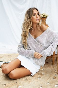 Double Crossed Knit - Tops by Sabo Skirt | SABO SKIRT Shannon Taylor, Poor Little Rich Girl, Beach Friends, Sabo Skirt, Knitted Fabric, Topshop, Cover Up, Skinny Jeans, Knitting