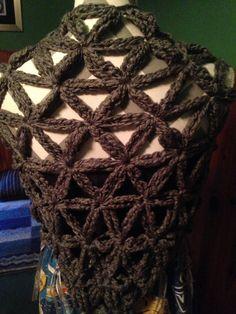 Silver Grey Flower of Life Crochet Shawl w by CraftyCrochet4Today
