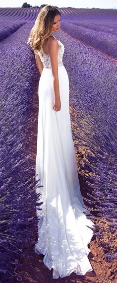 Charming Tulle & Chiffon Sheer Jewel Neckline Sheath/Column Wedding Dress With Lace Appliques & 3D Flowers & Beadings