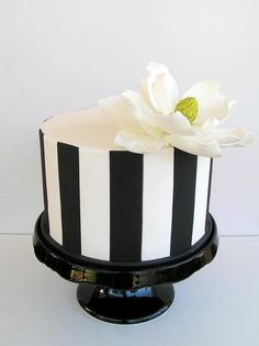 Black-and-white vertical stripe cake w/ flower, Sweet Disposition Cakes