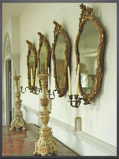 Row of antique Italian gilt mirror sconces Enchanted Home, Home Decor Signs, Through The Looking Glass, Candle Sconces, Wall Sconces, Inspired Homes, Modern Interior Design, Candlesticks, Decoration