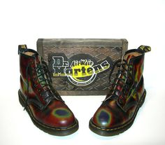 Uk 7~ Very Rare Multi- Color Acid Trip Leather Dr. Martens 1460s- Made in  England~ size 7 UK   size 7.5 US Mens   size 9 to 9.5 US Women dc953e0499