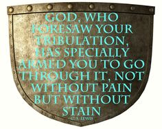 #42 - God, who foresaw your tribulation, has specially armed you to go through it, not without pain but without stain - C. S. Lewis