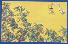 1930's Japanese Postcards : Advertising Cartoons ( Fuku chan ) for Sino Japanese War Bonds by Ryuichi Yokoyama / Anti Chinese Army Art - Japan War Art / vintage antique old Japanese military war art card / Japanese history historic paper material Japan