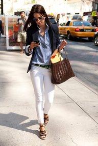white jeans + chambray blouse + blazer