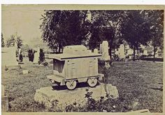 captioned: a curious monument erected to a railroad conductor  marker is located in Urichsville, Ohio Note:  in reality, this is a monument to the Brotherhood of Railroad Trainmen.