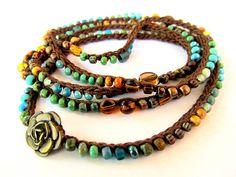 Crochet wrap bracelet boho necklace beaded dark by CoffyCrochet SOLD