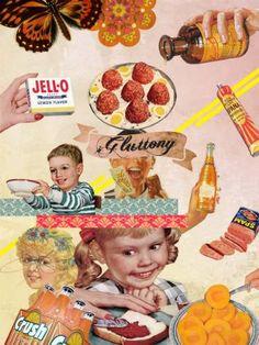 "Saatchi Art Artist Elo Marc; Collage, ""Gluttony - Seven Deadly Sins Collection"" #art"