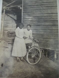 Vintage Photo African American Girl Grandma and Cool Bike