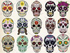 Sugar skulls Set Vector Illustration by Den Marty Studio on @creativemarket