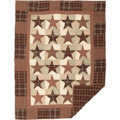 Quilted Throw 50 x 60 inch Patchwork Star Barn Red Plaid Abilene VHC Brands #VHCBrands #RusticPrimitive