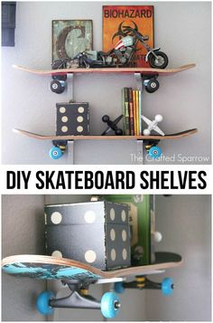 Brilliant DIY Shelves for Your Home - DIY Skateboard Shelves. Recycle the old skateboards into these useful floating wall shelves! Easy a - Boys Room Decor, Kids Bedroom, Boys Room Ideas, Diy Boy Room, Rooms For Boys, Boys Bedroom Ideas Tween, Cool Boys Room, Teen Boy Rooms, Big Boy Bedrooms