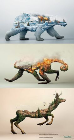 This incredibly striking nature conservation awareness poster : interestingasfuck Street Art, Art Plastique, Double Exposure, Oeuvre D'art, Cool Drawings, Horse Drawings, Animal Drawings, Amazing Art, Cool Art