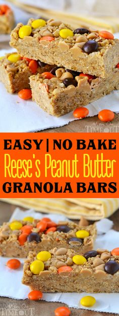 These easy no-bake Reese's Peanut Butter Granola Bars are hard to resist for kids and adults alike! Packed with delicious peanut butter flavor and topped with Reese's Pieces, these bars are truly eye candy! | MomOnTimeout.com
