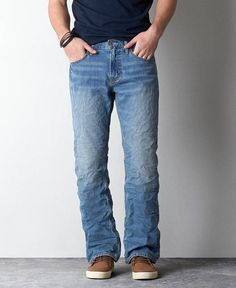 Shop at American Eagle for Men's Bootcut Jeans that look as good as they feel. Browse classic and original bootcut jeans in different washes, styles, and extended sizes. Mens Bootcut Jeans, Denim Jeans, Military Pants, American Eagle Men, Mens Outfitters, Vintage Denim, Lounge Wear, Jeans And Boots, Mens Fashion