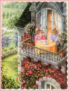 At the heart of Holly Pond Hill is artist Susan Wheeler. Susan Wheeler, Lapin Art, Art Fantaisiste, Bunny Art, Beatrix Potter, Children's Book Illustration, Illustration Animals, Whimsical Art, Cute Art