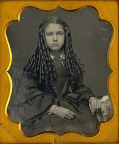 Victorian Teen with Sausage Curls.    1/6 Daguerreotype of a very pretty and snobby looking young lady with great hair. It must have taken hours to do her hair. Image is by Anson of New York, N.Y.