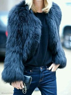 Fur and jeans, all blue. Like it.