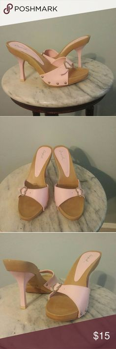"""Qupid Wooden Pink Slip-on Heels Like New, No visible signs of wear, 3"""" pink heels, pink strap with rhinestone heart buckle. Qupid Shoes Mules & Clogs"""