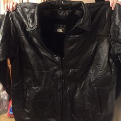 Brand-new men's 3XLT genuine leather coat. Genuine leather coat, never worn has fuzzy lining on the inside. Jackets & Coats