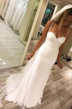 Elegant Sweetheart Tulle Mermaid Lace Wedding Dresses with Appliques,SW88 #Sweetheart #Mermaid #Tulle #Laceweddingdress