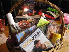 Chick Flick Raffle Basket - Movies, chocolate, popcorn, and wine raffle basket