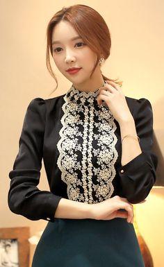 StyleOnme_Gold Lace High Neck Princess Sleeve Blouse #lace #princess #sleeve #blouse #black #koreanfashion #feminine #girly #wintertrend #elegant #seoul #kstyle