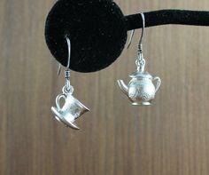 Nice Cup of Tea  Silver earrings by KLFStudio on Etsy