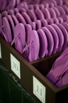 Wedding ideas - purple wedding flip flops - Donnell Probst Photography - donnellprobst.com