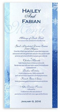 40 Wedding Menu Cards - Snowflake Midnight Desire by WeddingPaperMasters.com. $67.60. Now you can have it all! We have created, at incredible prices & outstanding quality, more than 300 gorgeous collections consisting of over 6000 beautiful pieces that are perfectly coordinated together to capture your vision without compromise. No more mixing and matching or having to compromise your look. We can provide you with one piece or an entire collection in a one stop...