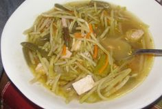 Chicken Noodle Soup (C1). GREAT idea to use broccoli slaw as the noodles!