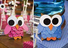 Buhos de papel para decorar la mesa / Paper owls to decorate the table