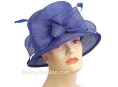 blue Sinamay church hat