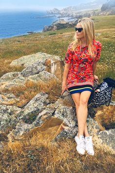 Reese Witherspoon wearing Adidas Originals Stan Smith Leather Sneakers, Draper James Vidalia Vine Tennessee Tote and Draper James Oak Hill Vine Hillsboro Shift Dress in Red Oak Hill Vine