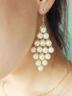 Gold Pearls Tassel Dangle Earrings