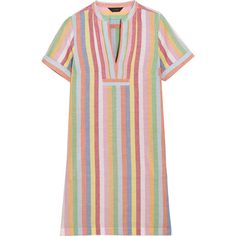 J.Crew Quinlan striped cotton, ramie and linen-blend mini dress (1.740 ARS) ❤ liked on Polyvore featuring dresses, blue, beach dresses, blue mini dress, print dress, blue slip and slip dresses