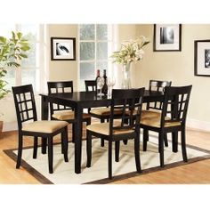 """Great Savings on Lexington 7-Piece 60"""" Width Table Dining Set with Window-Back Chairs, Black"""