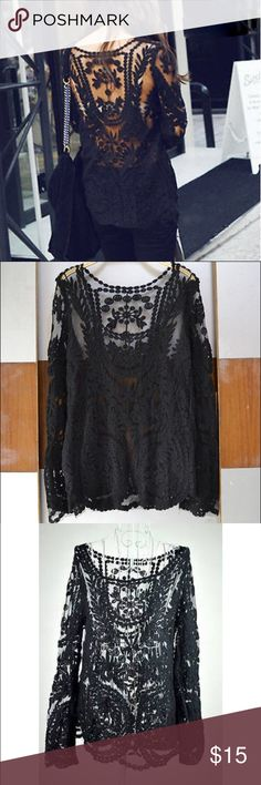 Black Crochet Lace Long Sleeve Top Sheer black top with lace crochet floral detail! Brand not Aritzia, I accidentally selected it. It was from a boutique and never worn. Aritzia Tops Blouses