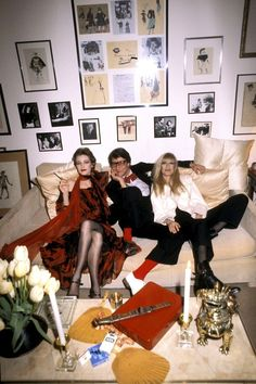 Every girl's dream - Loulou de la Falaise, Yves Saint Laurent, and Betty Catroux at a party, 1978.