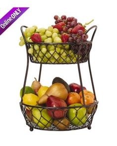 Wrought Iron Fruit Baskets Gourmet Basics By Mikasa Lattice 2 Tier Basket Tiered Handmade Home Decor