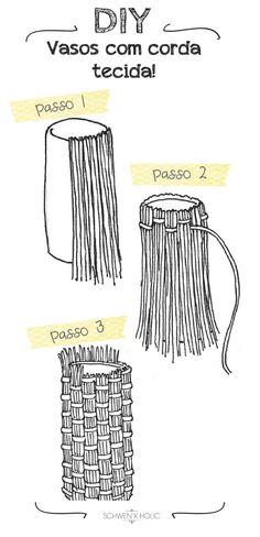 DIY: vasos com corda! www.schwenkholic.com.br