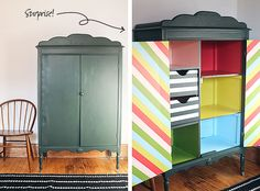 DIY Striped Armoire Surprise #sponsored #3MPartner #thehomedepot