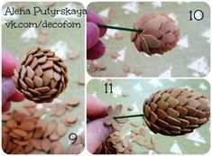 "Мастер-класс ""Шишка из фоамирана"" - Babyblog.ru Clay Flowers, Sugar Flowers, Fabric Flowers, Paper Flowers, Outdoor Christmas Tree Decorations, Christmas Branches, Christmas Crafts, Flower Tutorial, Diy Tutorial"